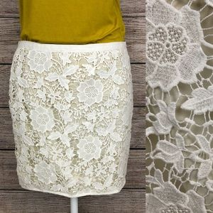 Madewell Ivory Crochet Lace Side-Zip Mini Skirt